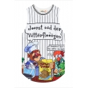 Round Neck Cartoon Print Mesh Sports Tanks