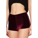 Burgundy Plain Skinny Velvet Shorts