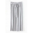 Plain Cotton Ruched Tie Waist Tube Skirt