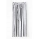 Plain Cotton Ruched Tie Waist Tube Skirt