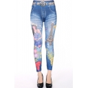 Tower and Beauty Print Elastic Skinny Jeggings