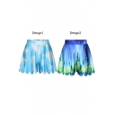 Blue Landscape Print Loose Casual Culottes