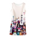 Unique Cartoon Character Print Shift Tanks Dress