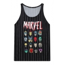 Stripe Marvel Character Print Tanks