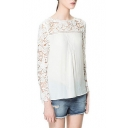 White Round Neck Long Sleeve Lace Chiffon Blouse