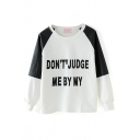 Letter Print Color Block Long Sleeve Round Neck Sweatshirt