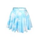 Blue Sky Print Skater Skirt