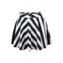 Mono Stripe Print Skater Skirt
