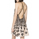 Leopard Print Cross Back Wild Style Slip A-line Dress