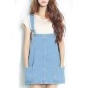 Varsity Style Double Pockets Hem Buttoned Denim Overall Dress