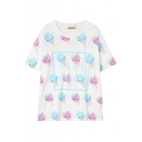 White Short Sleeve All Over Ice Cream Cute T-Shirt