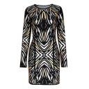 Stripe Print Long Sleeve Round Neck Dress