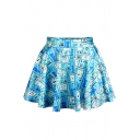 Cartoon Print Skater Skirt