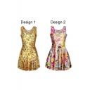 Yellow Sleeveless Emoji Expression Print Dress