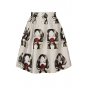 Rose and Girl Print Tie Dye A-Line Skirt