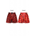 Red Strawberry and Heart Print Loose Culottes