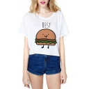 Short Sleeve Hamburg Chips Print Loose Crop T-Shirt