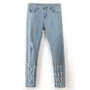 Stud Embellish Distressed Elastic Jeans