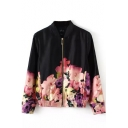 Black Floral Print Long Sleeve Zipper Front Coat