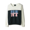 White Color Block New York Print Sweatshirt
