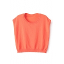 Plain Sleeveless Knitting Crop Top