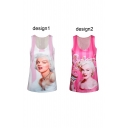Pink Scoop Neck Marilyn Monroe Print Tank