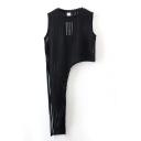 Fashion Vertical Stripe Sheer Tie Side Sleeveless Blouse