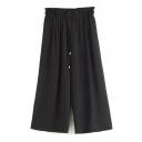 Plain Elastic Waist Wide Leg Crop Pants
