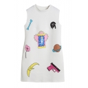 White Stand Collar Sleeveless Cartoon Print Dress