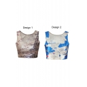Sleeveless Map Print Scoop Neck Crop Tank