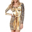 Golden Long Sleeve Egypt Queen Print Bodycon Dress