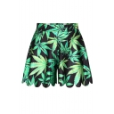 Green Leaf Print Mid Waist Culottes