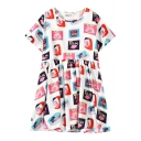 Meat Can Print Round Neck Short Sleeve Dress