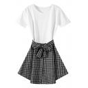 Plaid Bow Waist Round Neck Short Sleeve Dress