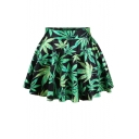 Green Leaves Print  Mini Skirt