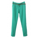 Plain Ankle-Cuff Zipper Fly Cigarette Pants with Belt