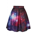 Red Galaxy Print Tie Dye A-Line Skirt