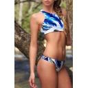 Leather Print Halter Tie Back Bikini Set
