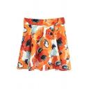 Oil Painting Flower Print Skater Skirt
