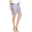 Fresh Plain High Waist Lace Crochet Pencil Skirt