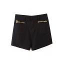 High Waist Zipper Embellish Denim Shorts