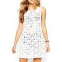 White Round Neck Sleeveless Cutout Cover Up