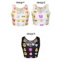 Emoji Expression Print Scoop Neck Crop Tank