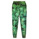 High Elastic Green Leaf Print Loose Pants
