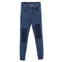 Color Block Patch Light Blue Zipper Fly Jeans