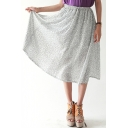 Totem Print Elastic Waist Tea Length Skirt