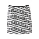 Mono Geometry Pattern Office Lady Style Bodycon Skirt
