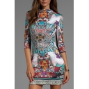 Multi Color Tribal Print 3/4 Sleeve Bodycon Dress