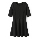 Plain Short Sleeve Round Neck Skater Dress