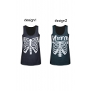 Skeleton Print Scoop Neck Fitted Tank